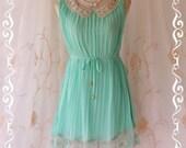 Kiss - Beautiful Pastel Mint Blue Pleated Dress Gorgeous Broomstick Style With Cream Crochet Collar Draped Matching Lace Around Hem