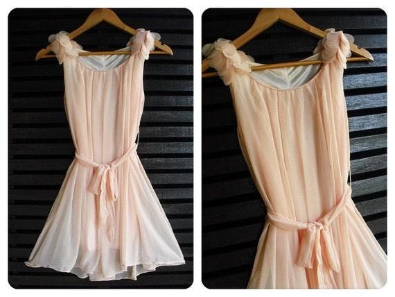 Flying - Cutie Freshly Dress Light Pink Toned Ruffle Shoulder Matching Sash Romance