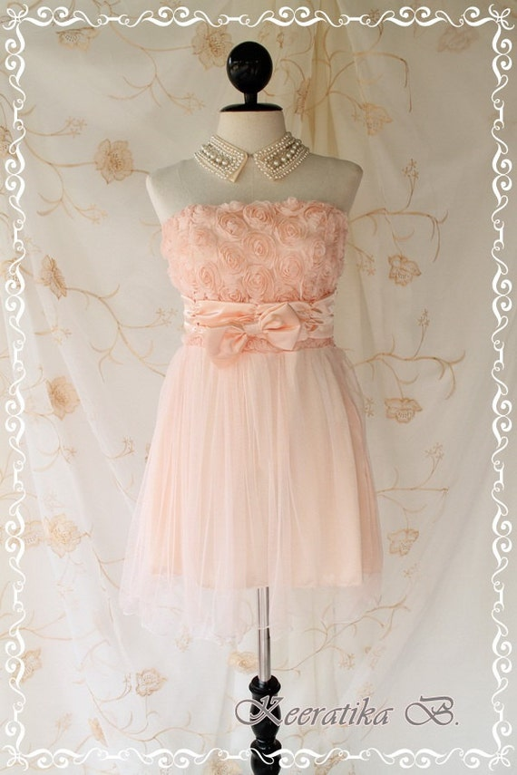 Princess Of The Night Cocktail Dress - Soft Pale Peach Toned Wedding Prom Party Cocktail Night Dress Romance Tutu Skirt Floral Fabrics