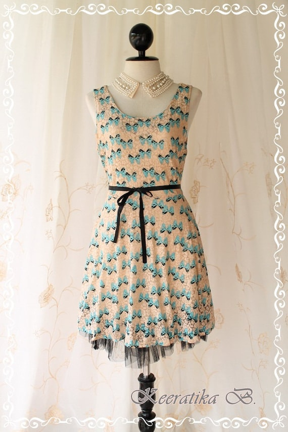 Butterfly On Roses - Sundress Spring Summer Inspired Lovely Butterfly Print On Elastic Roses Lace Black Ribbon Tie