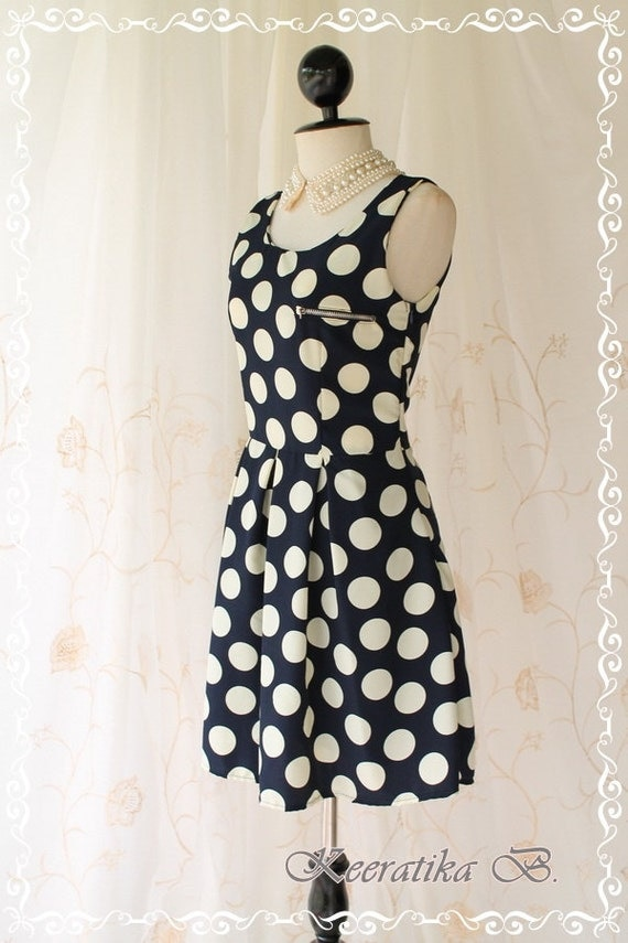 SPRING SALE - About Dotted III - Cutie Sundress Deep Navy Egg Cream Giant Polka Dot Adorable Sundress Embroidered Metallic Zip Front Top