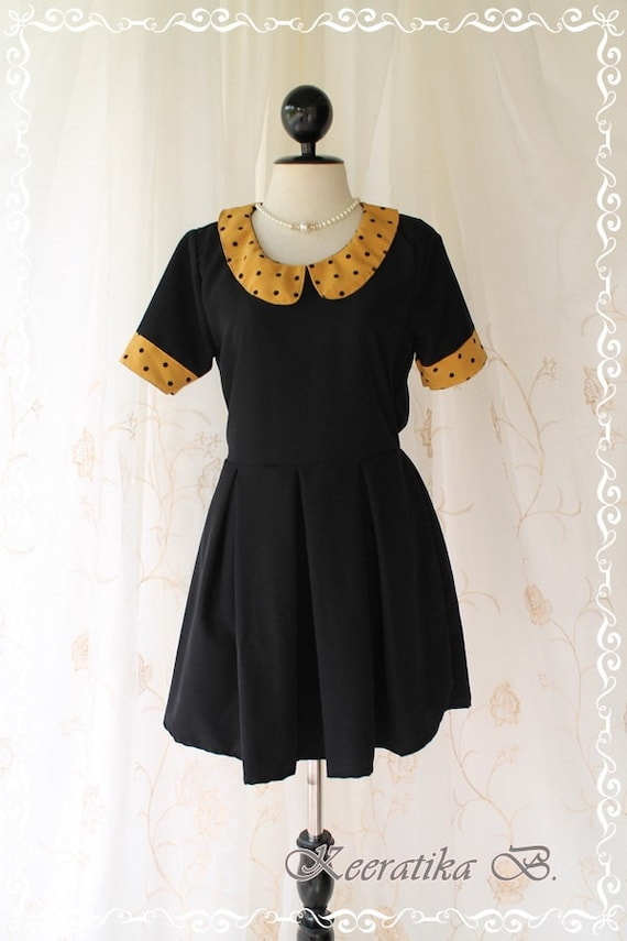LIMITED - Alice In Wonderland II - Vintage Retro Inspired Dress Black Toned With Polka Dot Mustard Peter Pan Collar Pleated Skirt