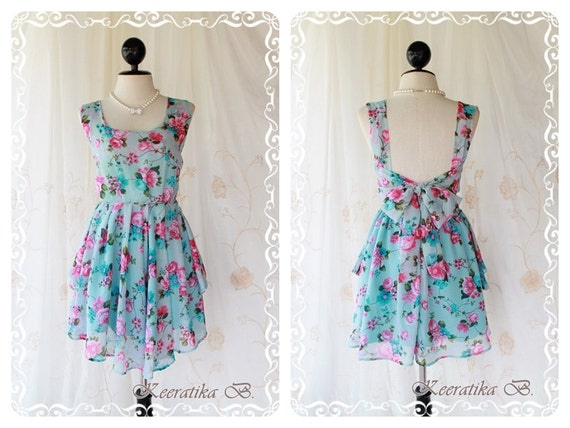 A Party - Cocktail Dress Prom Party Dinner Wedding Bridesmaid Dress Bright Blue BG With Glamorous Pink Floral Print Deep Back Bow Tie