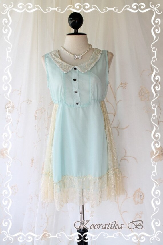 Cutie Girly - Sweet Romance Girly Mini Sundress Mint Blue Tone Draped Cream Lace Peter Pan Collar Adorable Gorgeous Dress