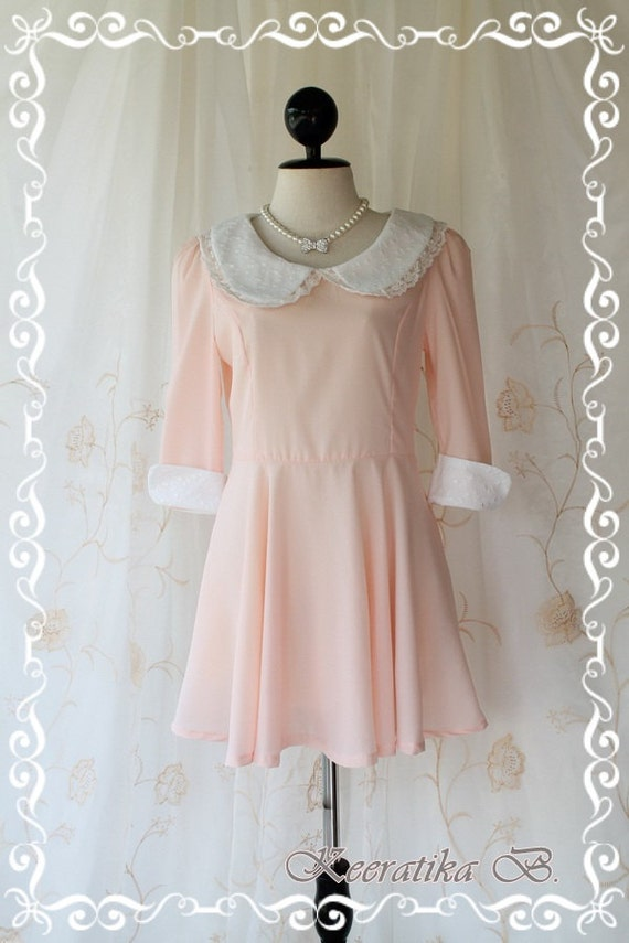 Blythe Dress - Adorable Sweet Mini Dress Blythe Doll Inspired Light Pink With White Lace Peter Pan Collar And Cuff Sweet Cutie Dress