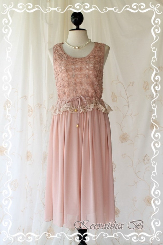 Sale Last Piece - Marie - Mid Maxi Dress Sweet Pastel Pink Nude Toned Lacy Top Sweet Glamorous Gorgeous Everyday Every Season Dress