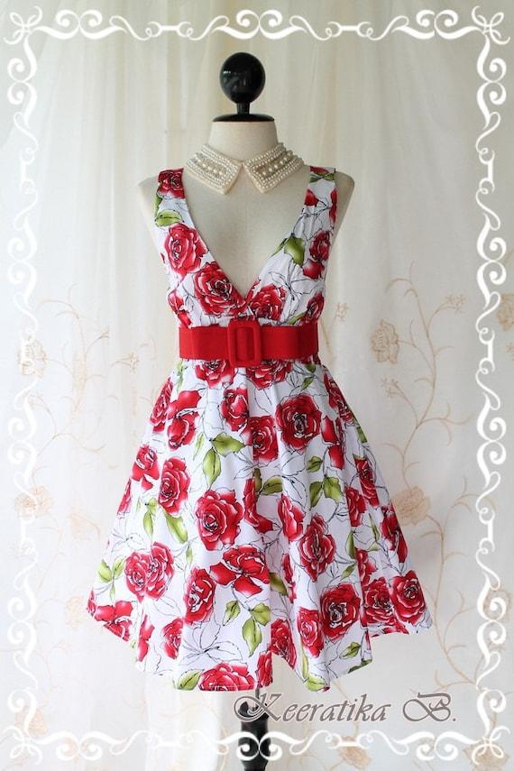 SUMMER SALE - Miss Floral II - Spring Summer Sundress White Background Playful Roses Floral Print Red Sash