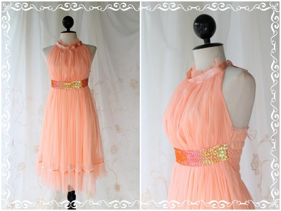 On The Floor - Cocktail Party Prom Wedding Dinner Bridesmaid Tangerine Peachy Dress Halter See Through Sweet Romance