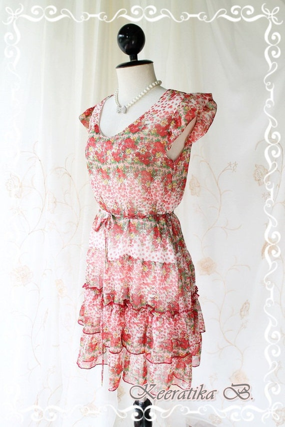 The Angel - Sun Dress - Petite Floral Print Puffed Sleeve Broomstick Summer Dress Adorable Piece