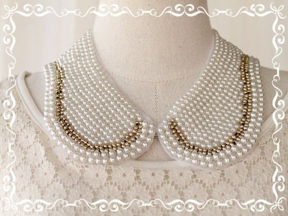 New Handmade Collar Beadwork Vintage Peter Pan Style Pearl Bead With Gold Metal Bead Hand Sewn Piece