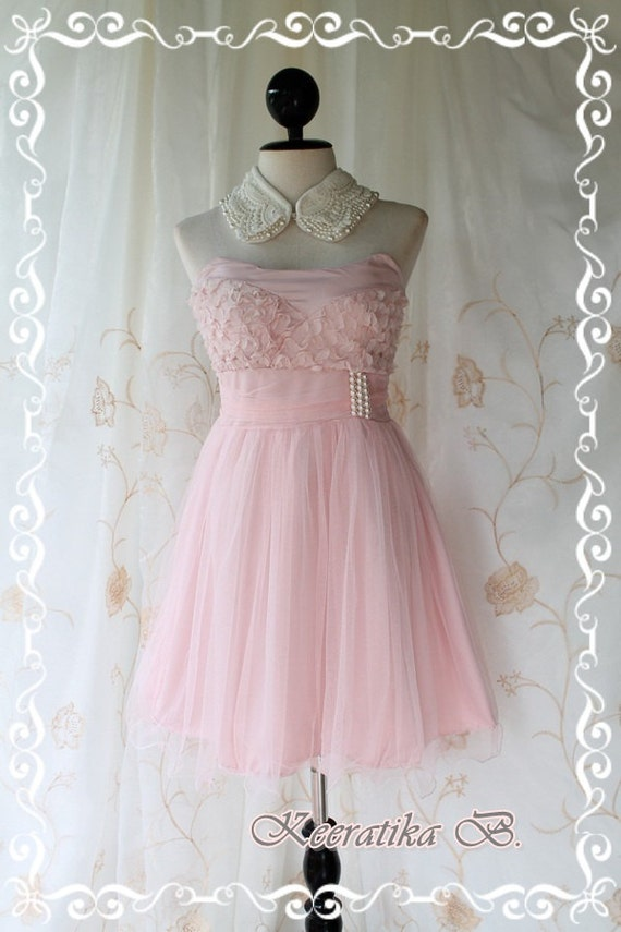 Fantastic Cocktails Night - Goddess Petite Light Pink Cocktail Dress Strapless Tutu Sweet Glamorous Party Bridesmaid Dinner Wedding Dress