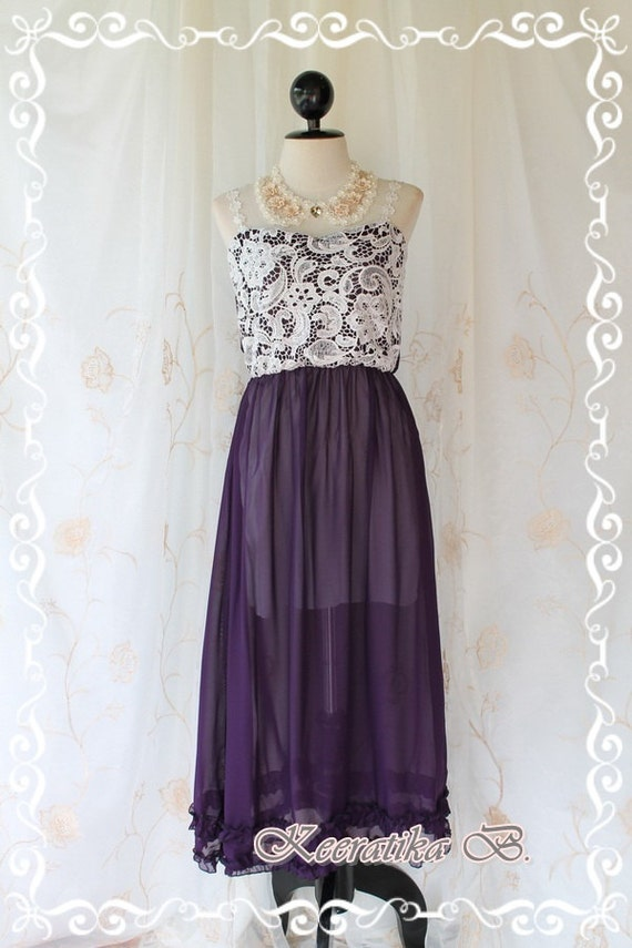 Lady And Floral - Maxi Dress Purple With White Lace Strap And Strapless Maxi Dress Sweet Beautiful Gorgeous Long Dress