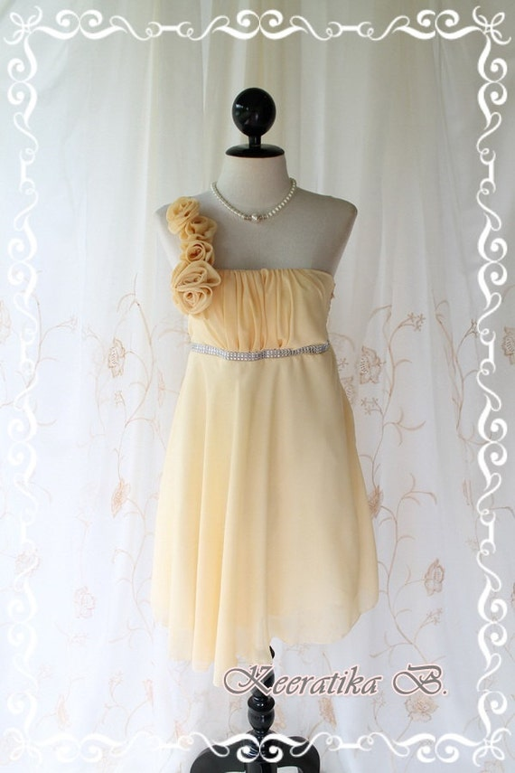 Juliet's Party ll - Gorgeous Yellow Cocktail Dress Flowers Draped One Shoulder Strap Crystal Bead Tab Attached Wedding Bridesmaid Prom SizeM