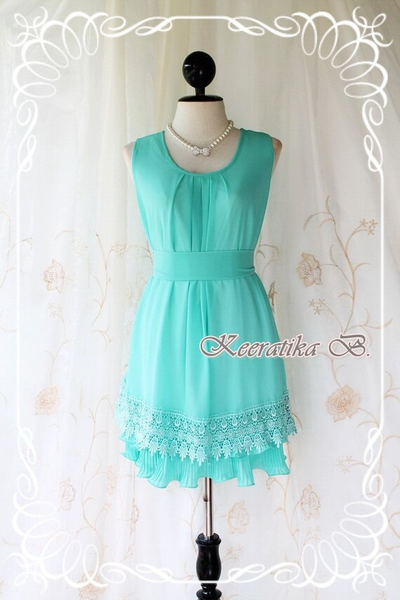 Lady Princess ll - Higher Quality Detailed Pastel Sundress Mint Blue Toned Lacy Hemmed Cocktail Wedding Party Bridesmaid Dinner Dress