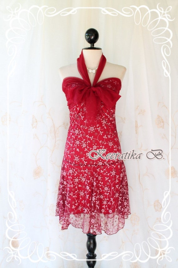 Princess Jasmine lV - Cocktail Wedding Prom Party Dancing Beach Hawaii Dress Burgundy Indian Gritter Lace Halter XS-S