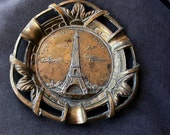 Paris souvenir ash tray solid brass plate , effiel  tower  signed  made in france