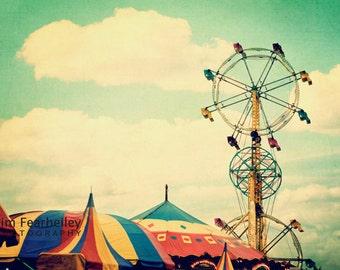 Carnival Photo - Ferris Wheel Carnival Tents - Fine Art Photography, state fair, carnival, nursery decor, carnival, soft yellow, teal, prin