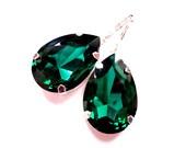 Extra Large Dramatic Emerald Swarovski Crystal Earrings  // Bridal, Bridesmaid, Wedding, Prom