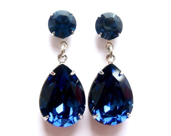 Montana Blue Angelina Jolie's Inspired Estate Style Silver or 24 K Gold Plated Dangle Post Earrings with Swarovski Crystals