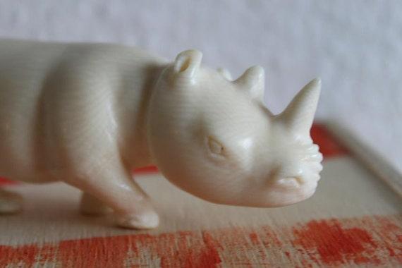 Antique Ivory Rhino Figurine