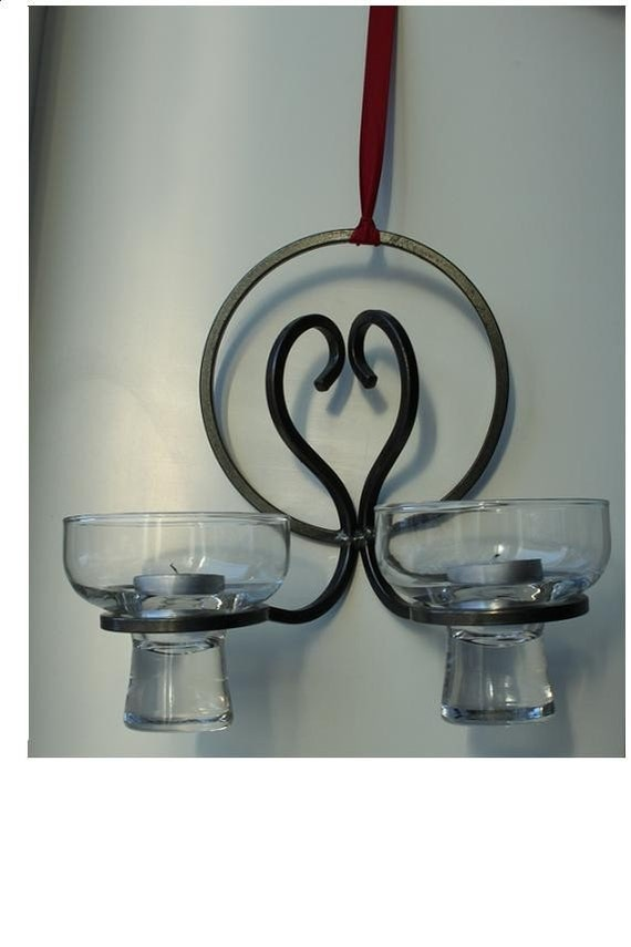 Beautiful Danish Modern Wrought Iron and Glass Candle Holder Wall Sconce