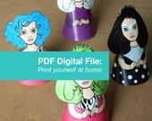 Paper Doll PDF Ornaments Holograms Misfits