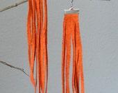 Extra Long Burnt orange Suede Leather Fringe Earrings