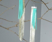 Long Suede Leather Fringe Turquoise Gold Earrings