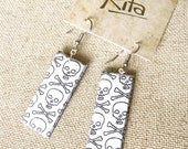 Black and White Skulls Fabric Earrings