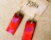 Pink and Red Batik Fabric Earrings
