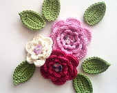 Crochet flowers set of 3 multilayered, 6 leaves ,applique in 100% cotton quality yarn - FREE SHIPPING