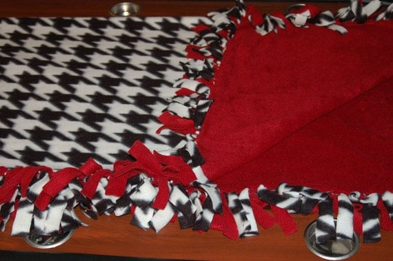 No Sew Tie Fleece Throw Blanket Houndstooth And By