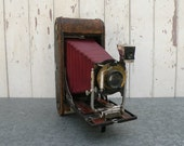 Vintage 1915 Kodak folding camera with red bellows , leather case Great vintage display