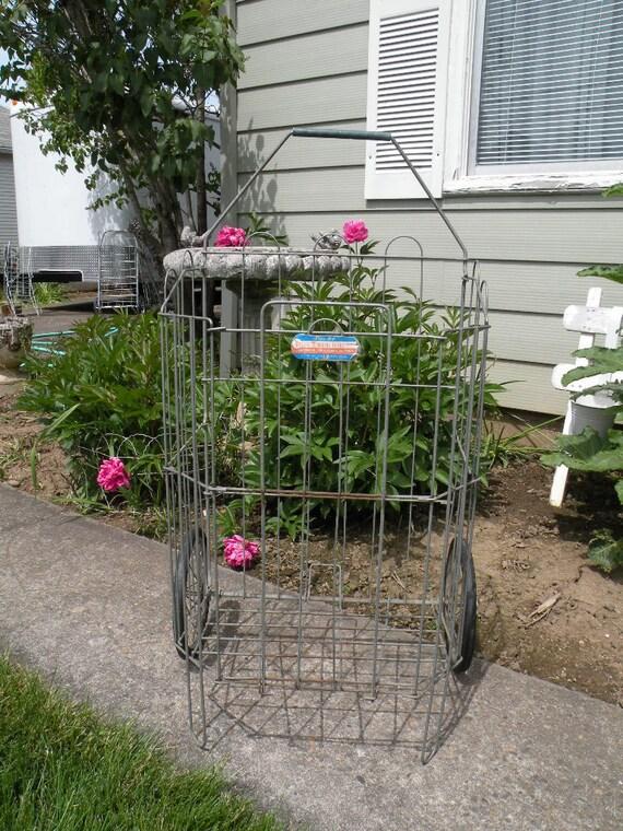 Vintage Flea Market folding shopping cart , tri fold vintage wire basket Wire Wheels