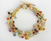 Free Shipping gold filled crochet bracelet with colorful Swarovsky beads