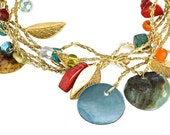 Free Shipping Silk necklace with Swarovski crystals and shells