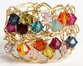 Free Shipping gold filled crochet lace Ring with Swarovsky colorful beads