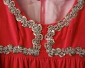 Vintage Coral Pink Velvet Gown