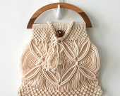 Vintage Art Manual Linen Macrame Handbag