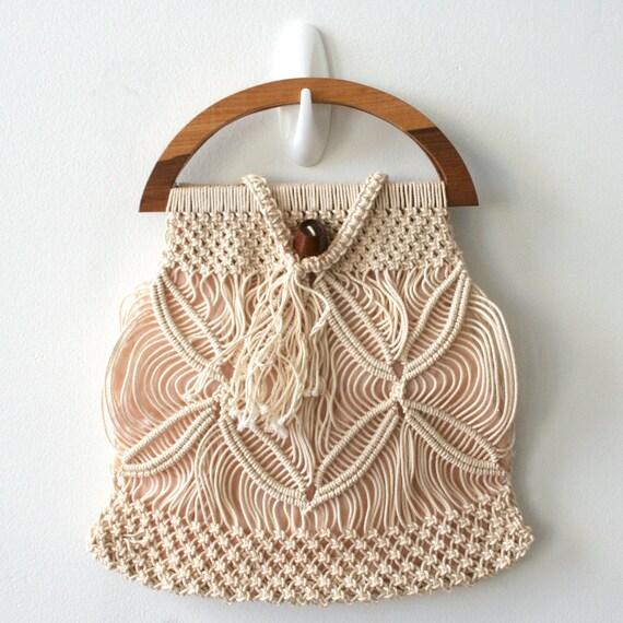 Vintage Art Manual Linen Macrame Handbag