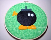 Adopt a Bomb-omb from Super Mario Felt and Fabric Embroidery Hoop Wall Hanging Art