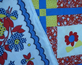 Quilted and Vintage Red, Yellow and BlueTablecloth