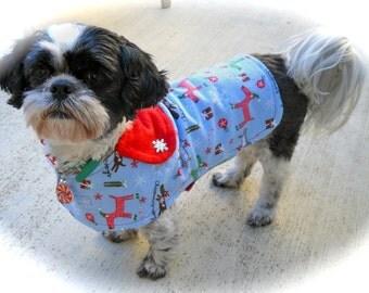 Small or Medium Holiday Christmas Reversible Dog Jacket