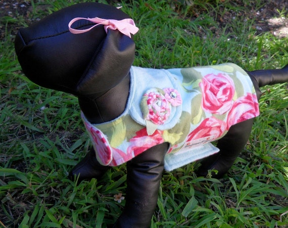 RESERVED For Patty Tiny Dog Rosebud Jacket with Fabric Rosettes