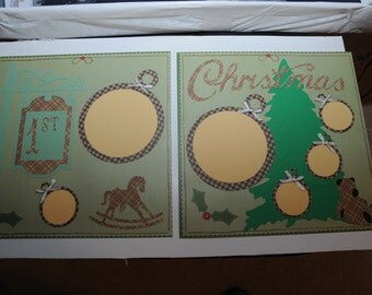 First Christmas --- Plaid --- Premade Scrapbook Pages
