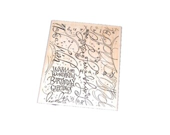 Birthday Stamp -- Stampin Up Background stamp -- Destash