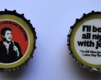 JERRY LEWIS Telethon Bottlecap MAGNET (set of 2)