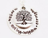 Personalized Grandmother Necklace - Hand Stamped Charm -  Tree of Life