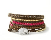 Sale... the lucky elephant Leather Wrap Bracelet - Pink & Brown 5 Wrap with  GOOD LUCK ELEPHANT
