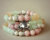 the lucky elephant Vintage Inspired French Pastels GOOD LUCK ELEPHANT Charm Bracelet